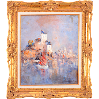 French Oil Painting Harbor Scene by C. Charpides