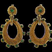 Art Nouveau Emerald and Diamond Dangle Earrings