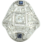 0.63 CTW Diamond and Sapphire Platinum Art Deco Ring