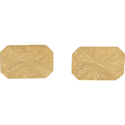 18 Karat Yellow Gold Engraved Cuff Links