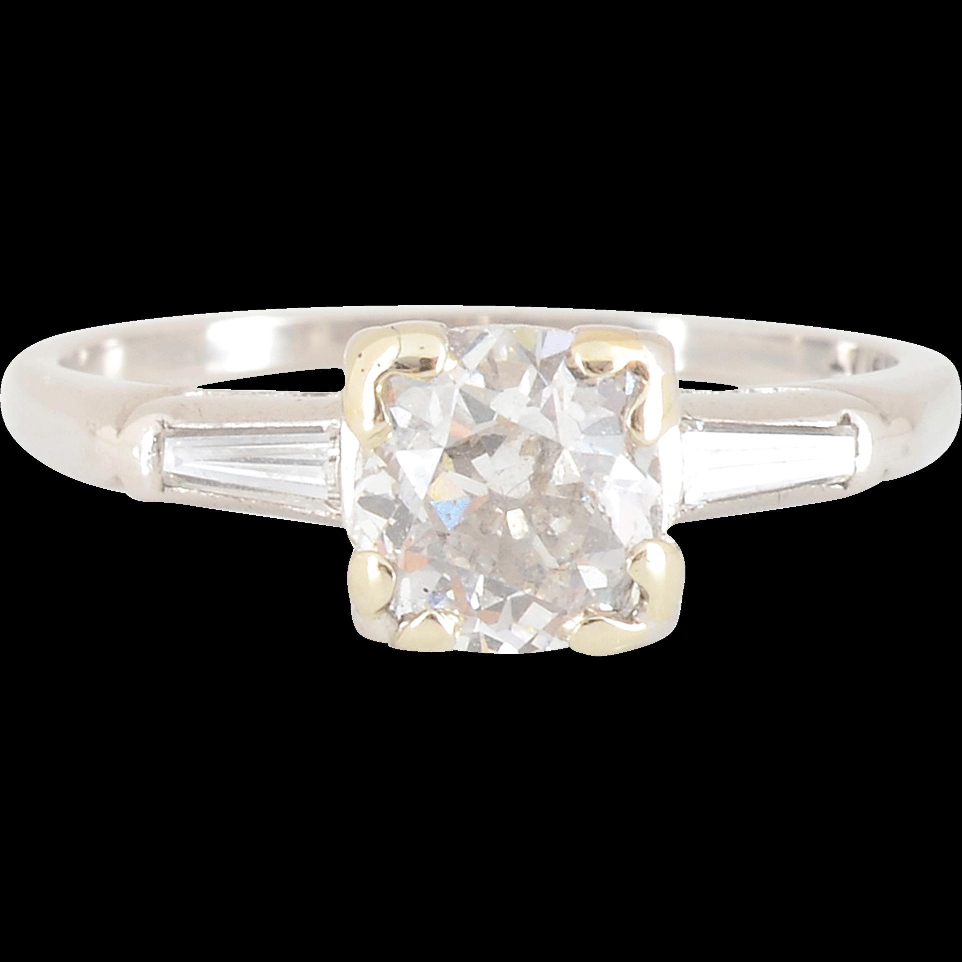 Platinum 0.86 Carat Center Diamond Engagement Ring
