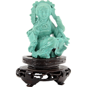 Seated Woman Turquoise Carving
