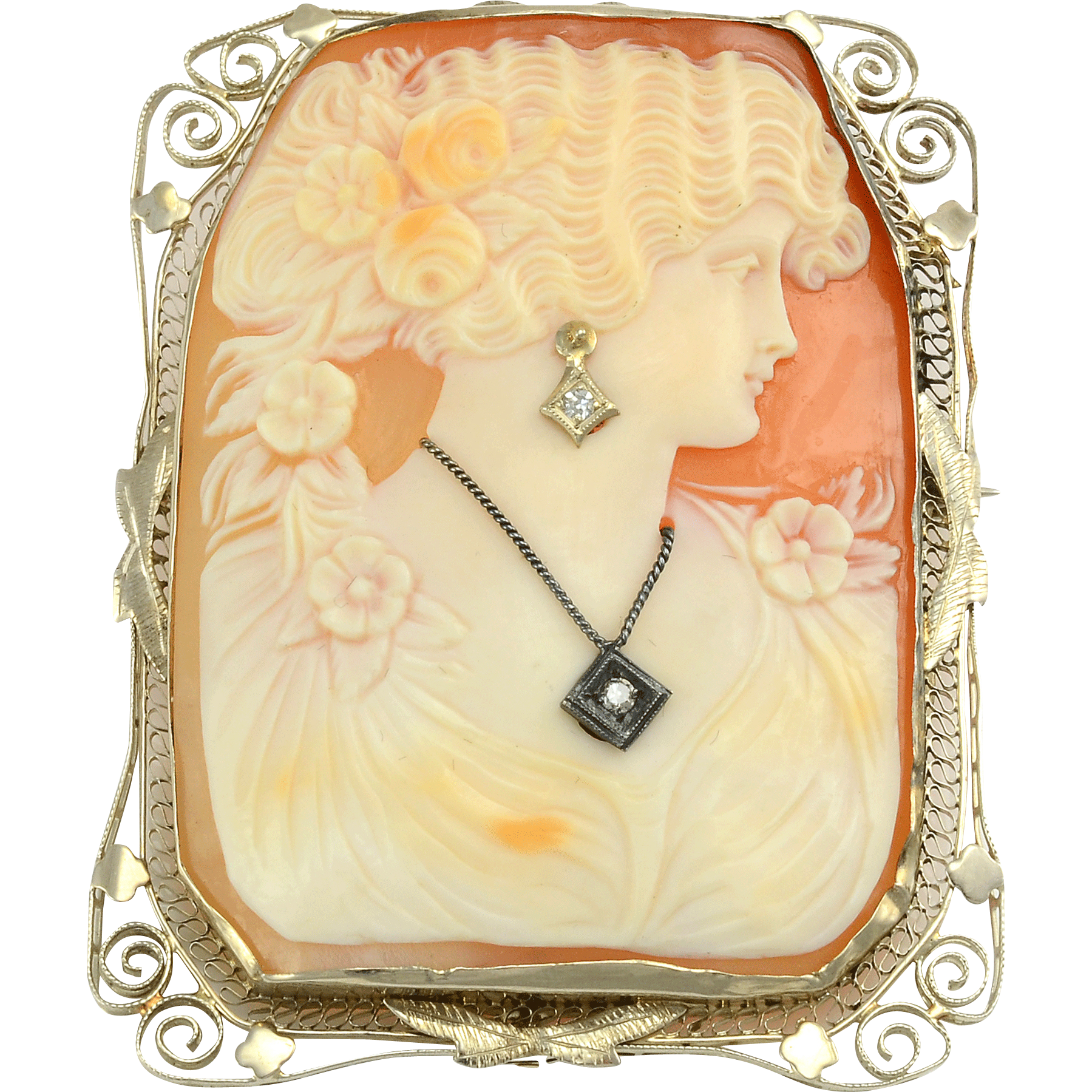 Shell Cameo Pin or Pendant