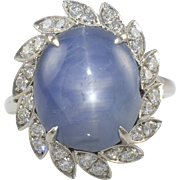 Platinum Blue Star Sapphire Ring with Diamonds