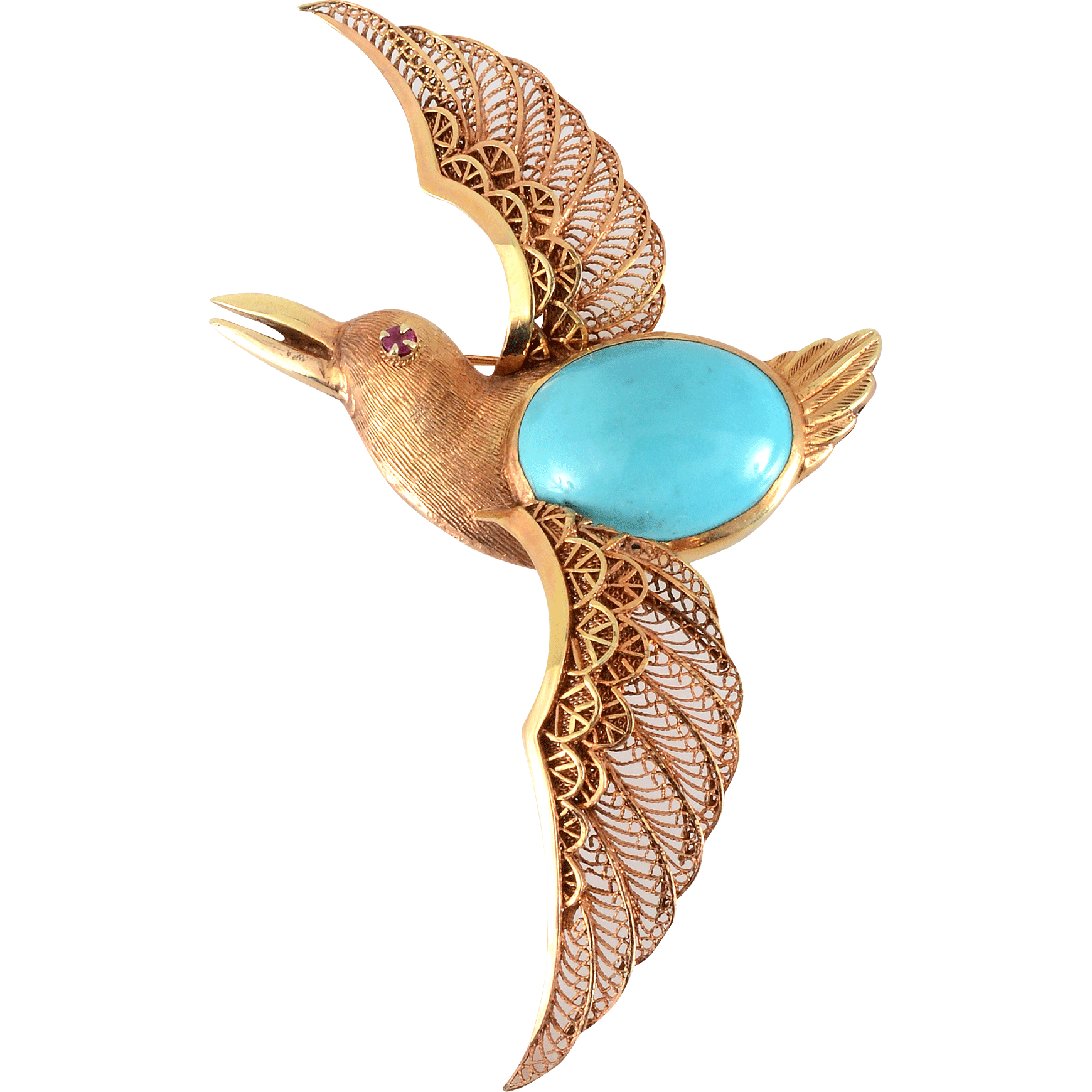 14K Rose Gold Turquoise Flying Bird Brooch with Filigree Wings