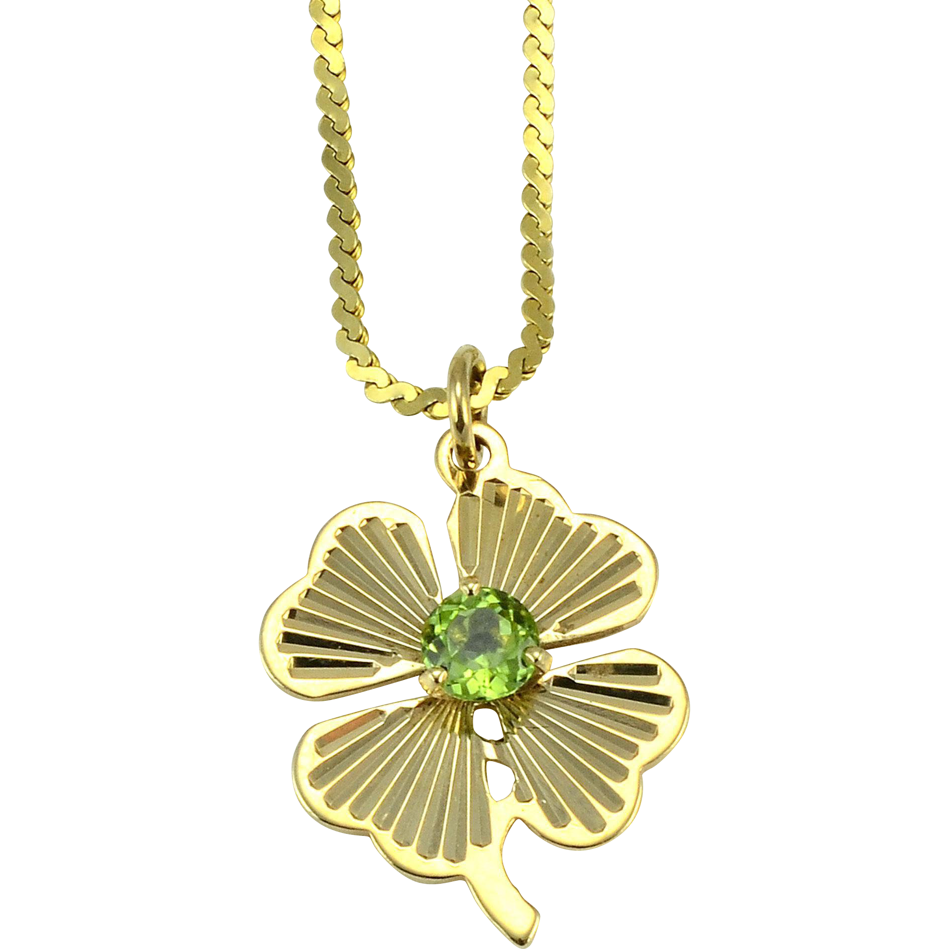 Yellow Gold Peridot Clover Leaf Pendant on Chain