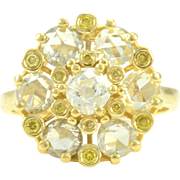 1.89 CTW Old Mine and Rose Cut Diamond Cluster Ring