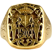 Mens Family Crest Signet Ring