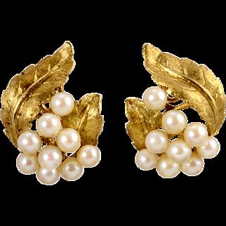 Cultured Saltwater Pearl Leaf Clip Earrings