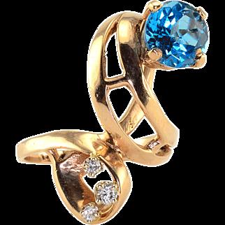 2.35 Carat Blue Topaz and Diamond Ring