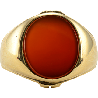 Large Oval Carnelian Mens Ring
