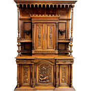 French Renaissance Style Ornately Carved Walnut Sideboard