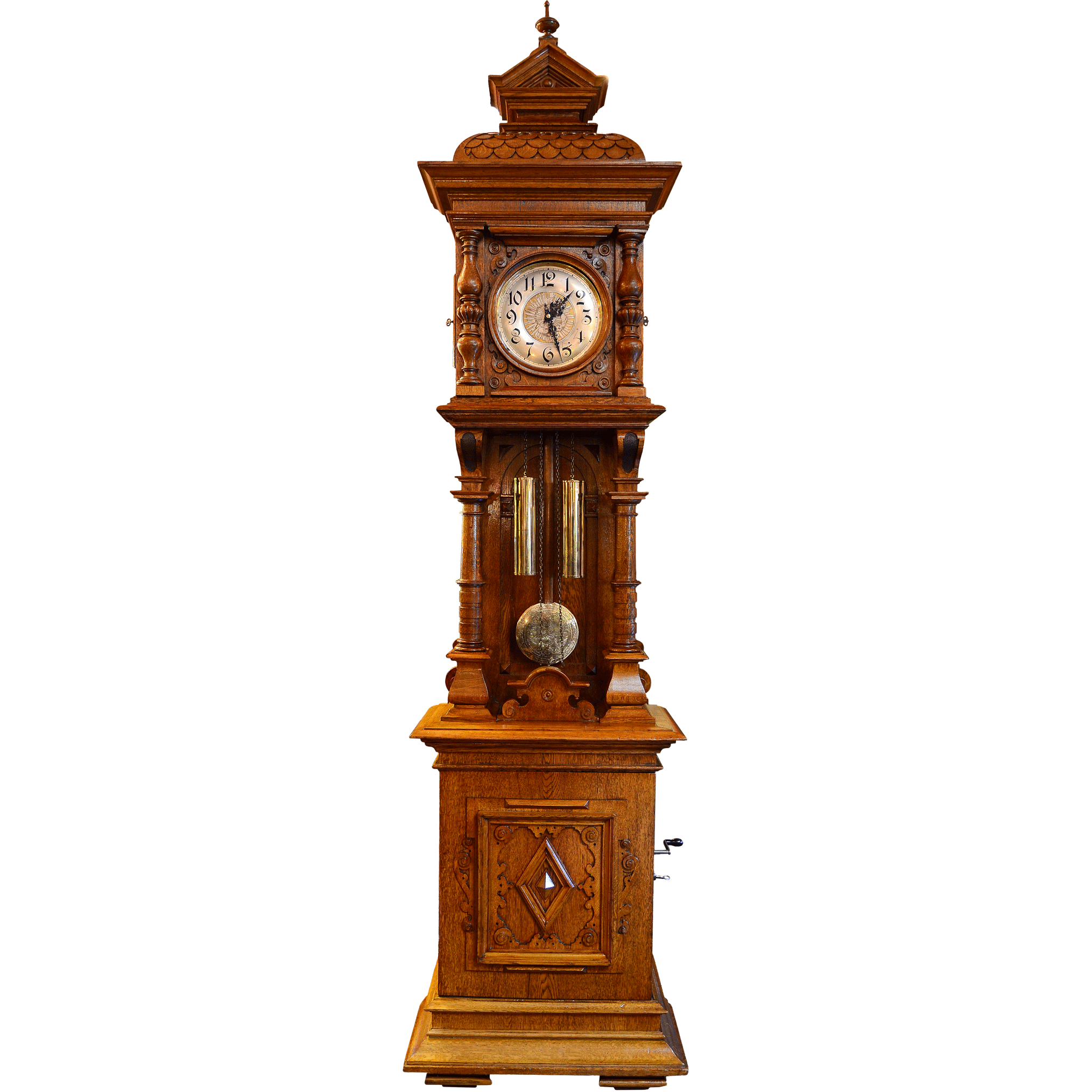 German Carved Oak Musical Grandfather Clock
