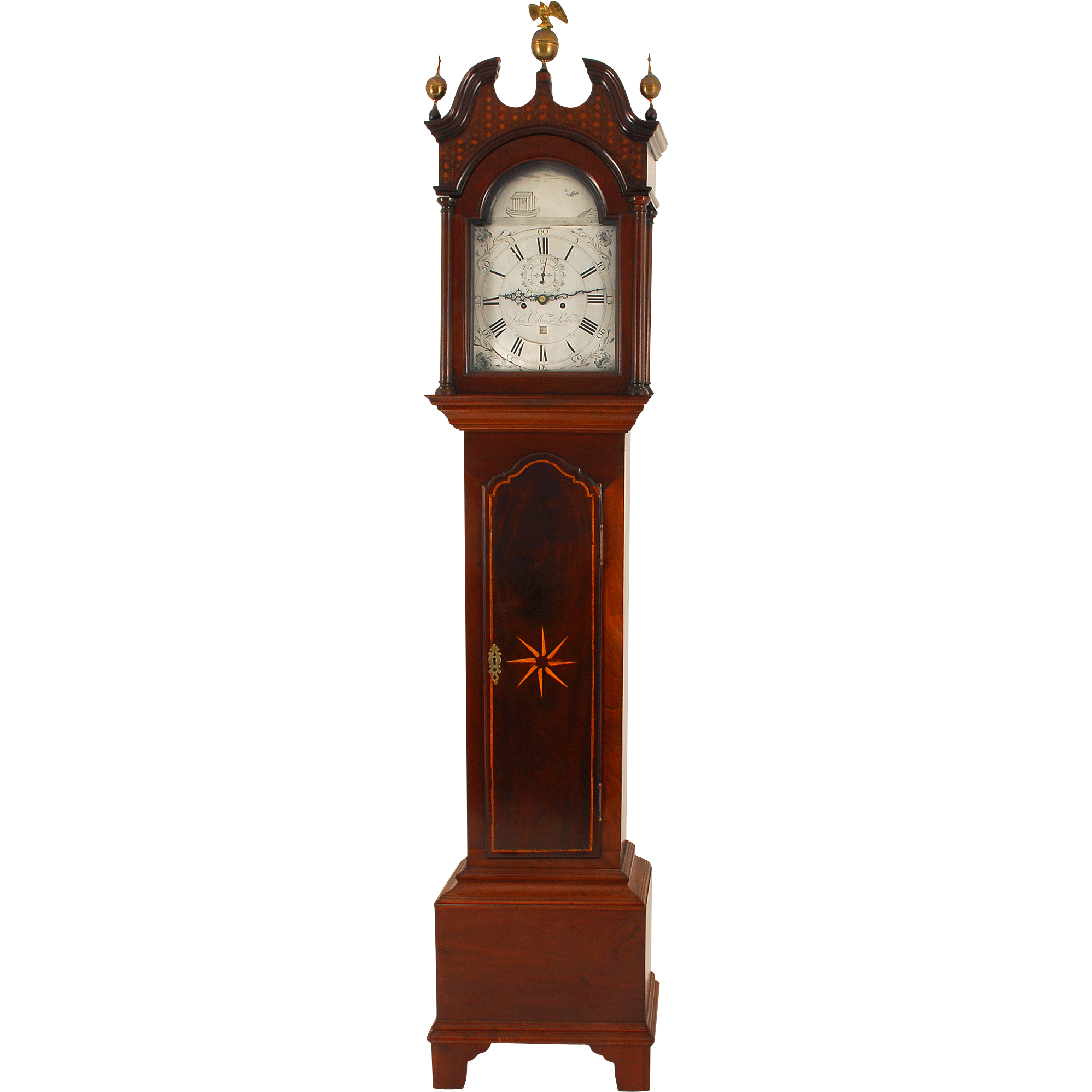 English Tall Case Clock with Engraved and Silvered Brass Dial by John Collings Sodbury