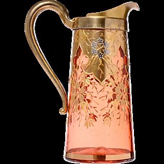 Gilt Overlay Cranberry Glass Pitcher