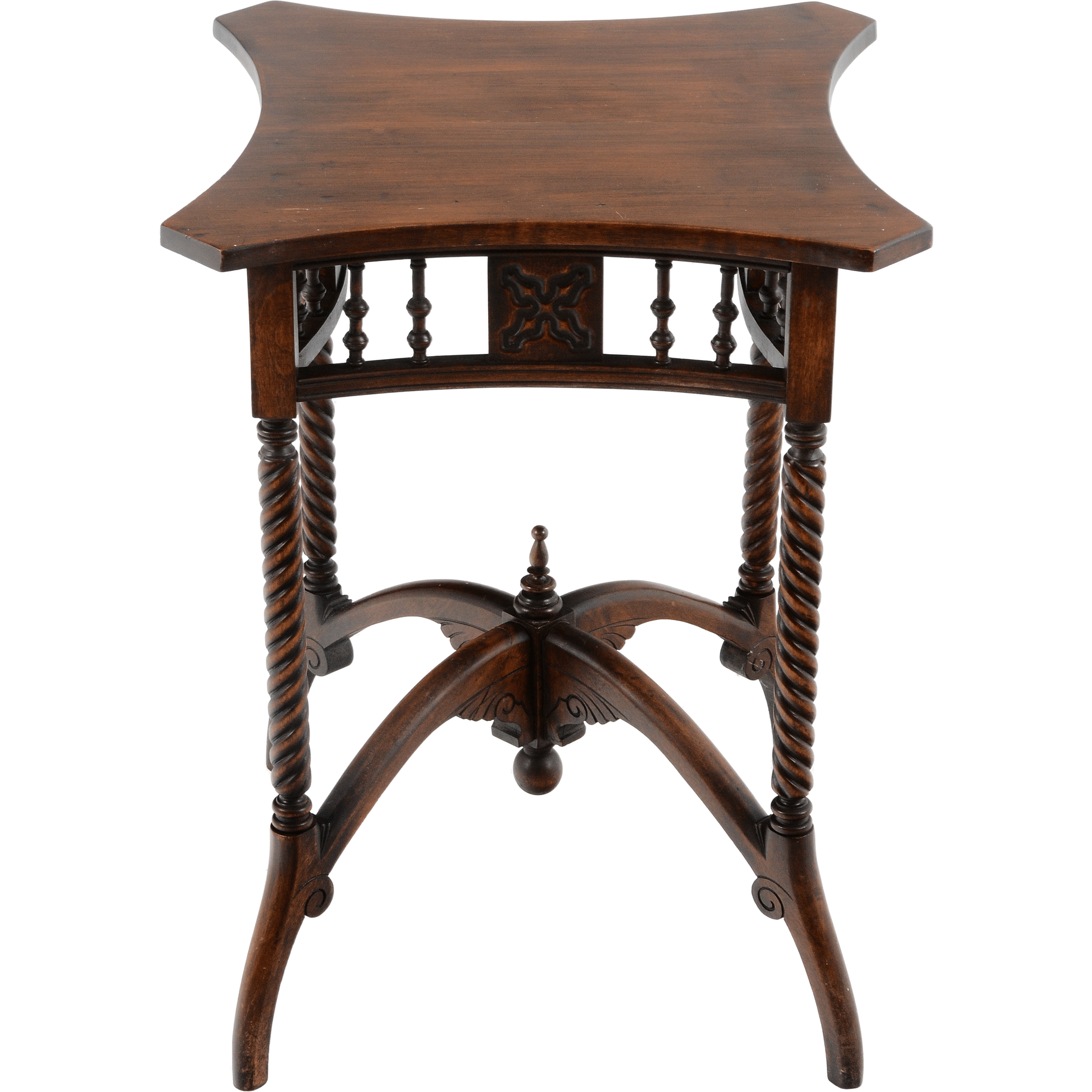 American Carved Walnut Side Table