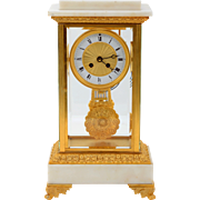 French Carrera Marble Crystal Regulator Mantel Clock