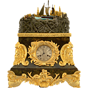 French Rare Rocking Ship Automaton Clock