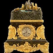 French Rare Rocking Ship Automaton Clock