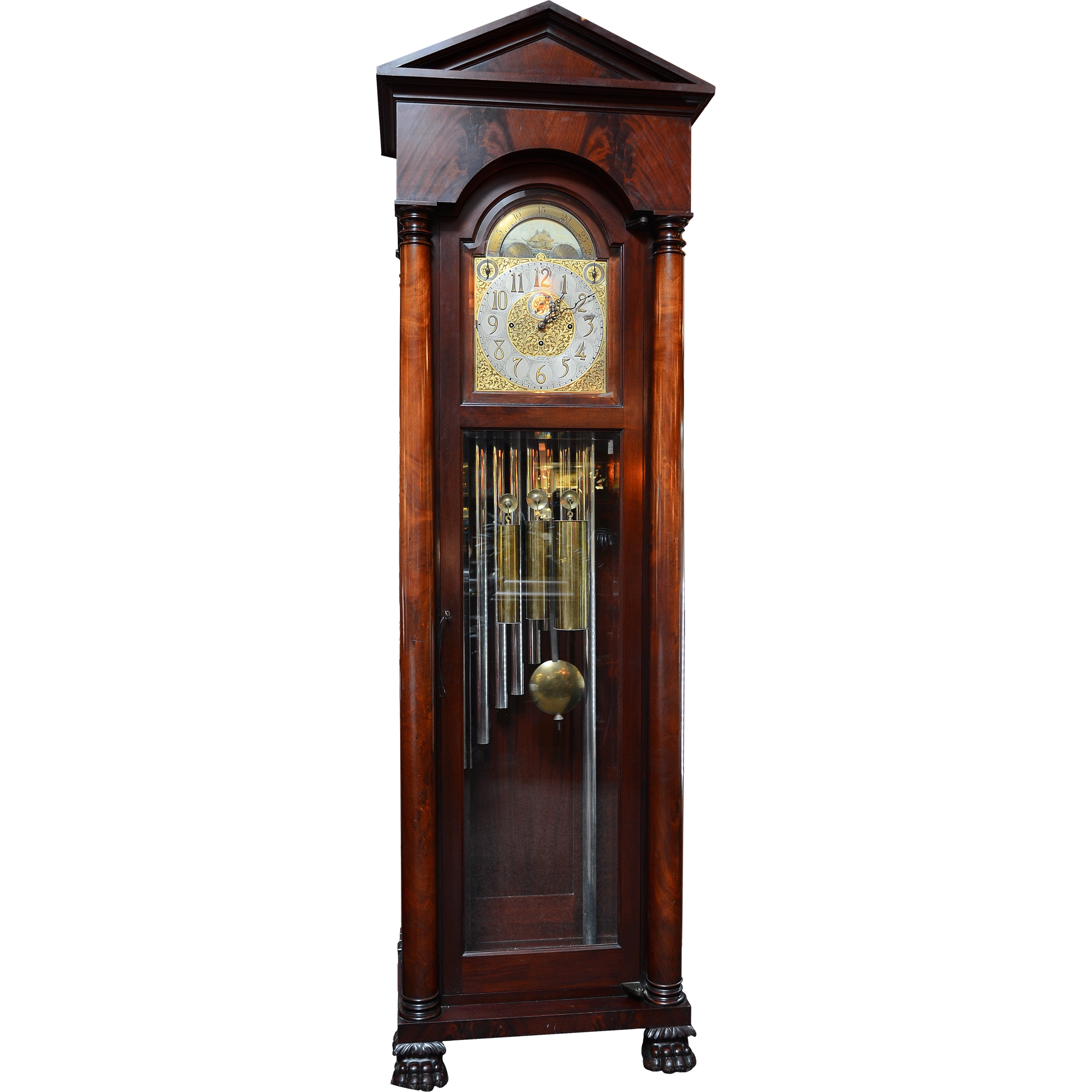 American Tubular Bell Tall Case Clock Marketed by the Royal Furniture Company