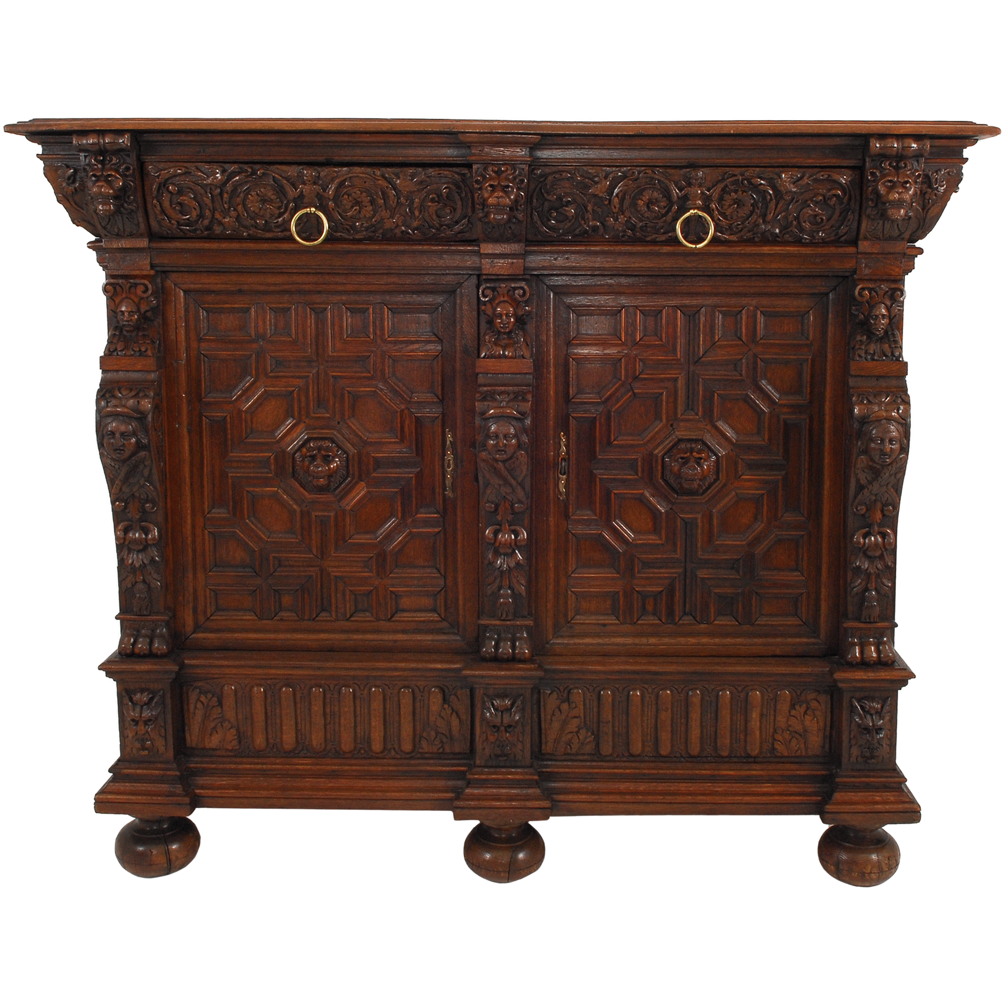 Flemish Oak Baroque Cabinet Server, circa 1640