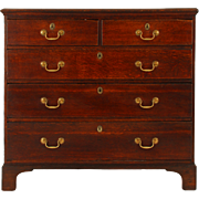 English Five Drawer Oak Chest
