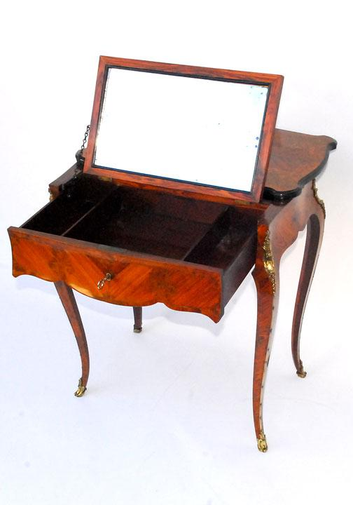 French Inlaid Dressing Table With Flip Up Mirror From