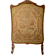 Rococo Fire Screen with Early Needlepoint Work