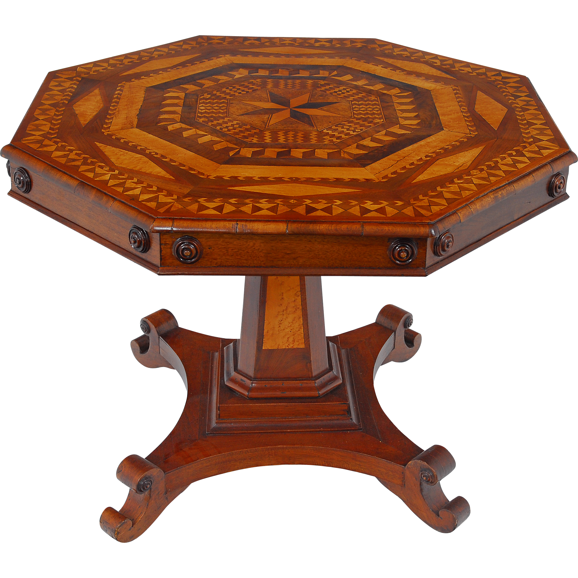 American Marquetry Inlaid Octagon Center Table