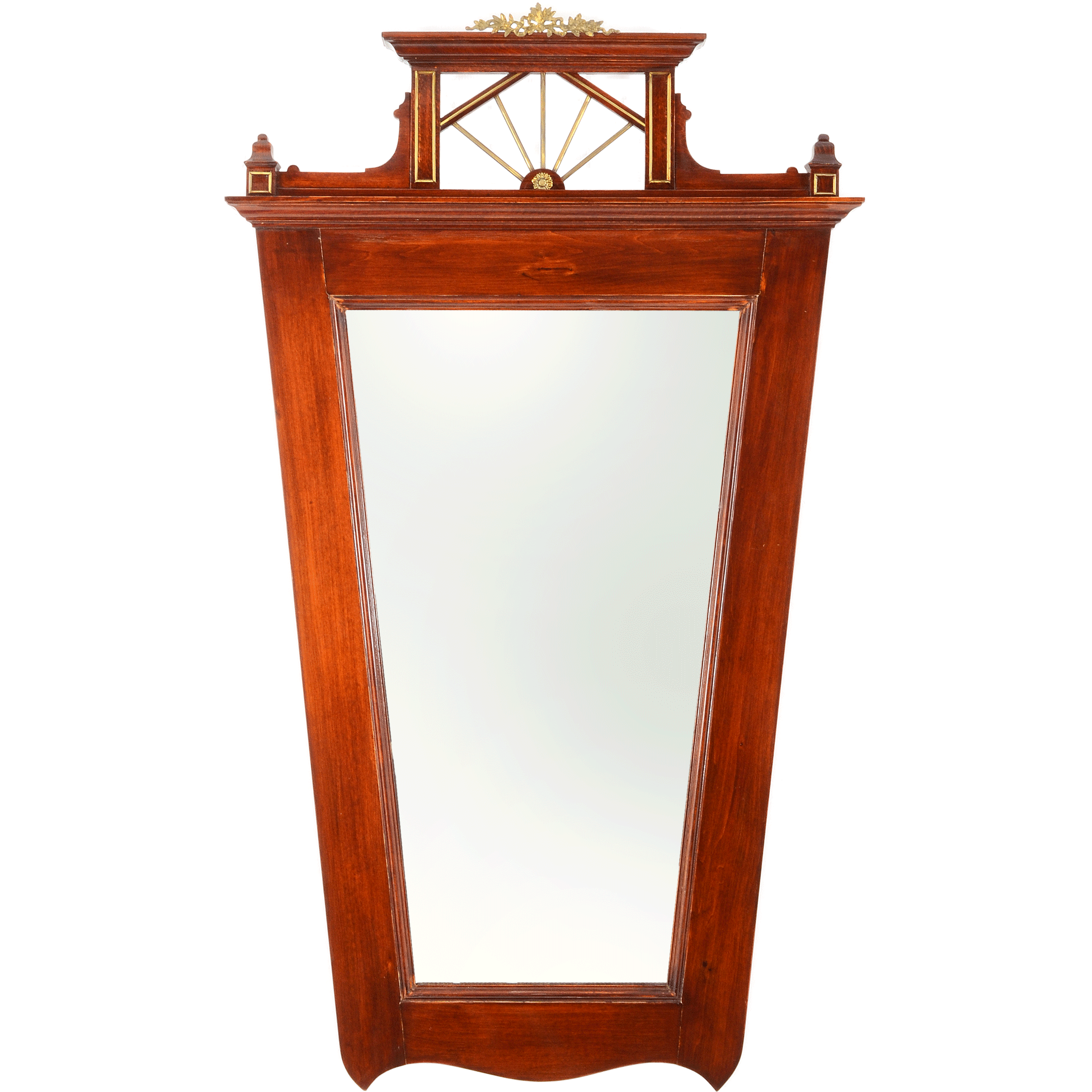 European Carved Mahogany Tapered Wall Mirror