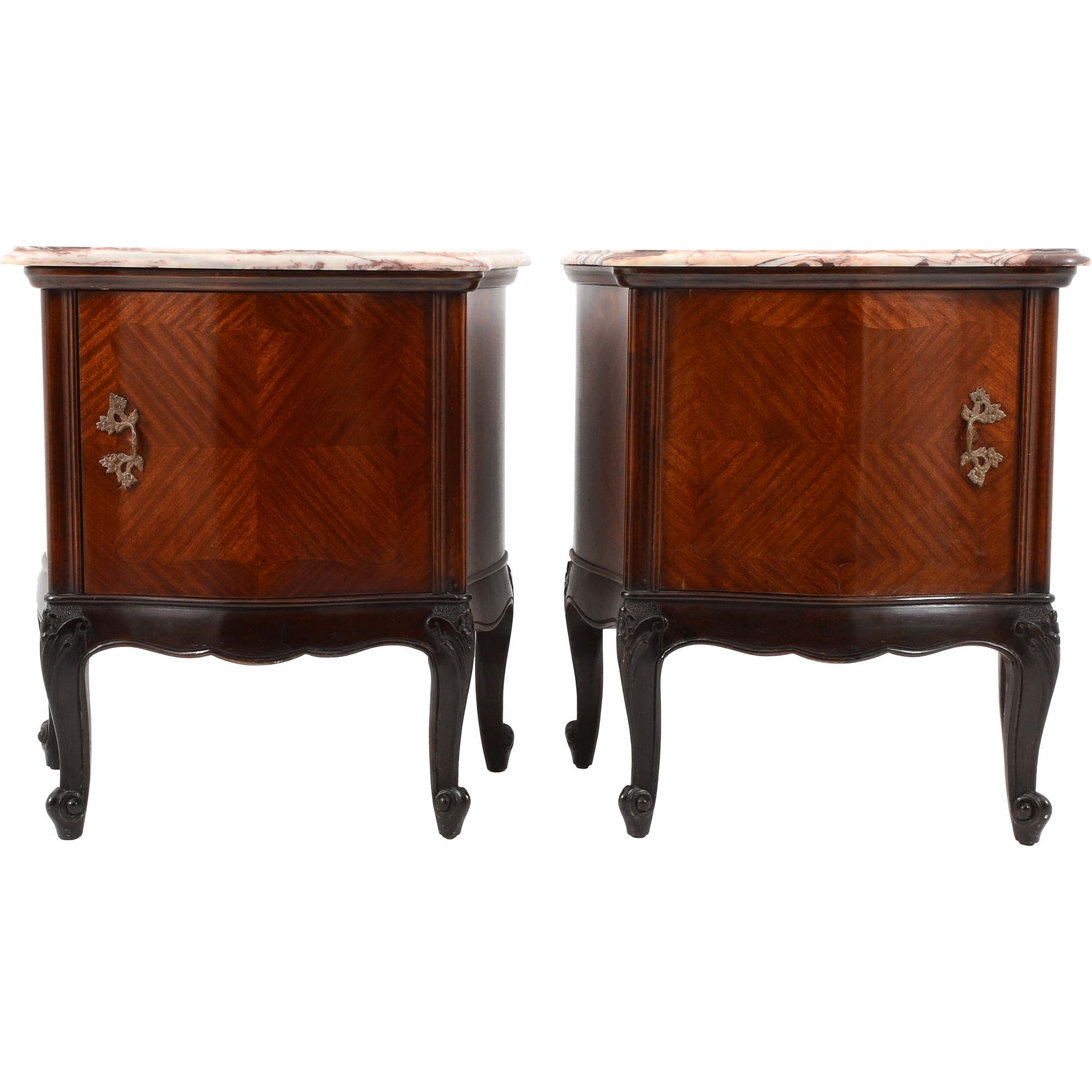 European Pair of Mahogany Nightstands