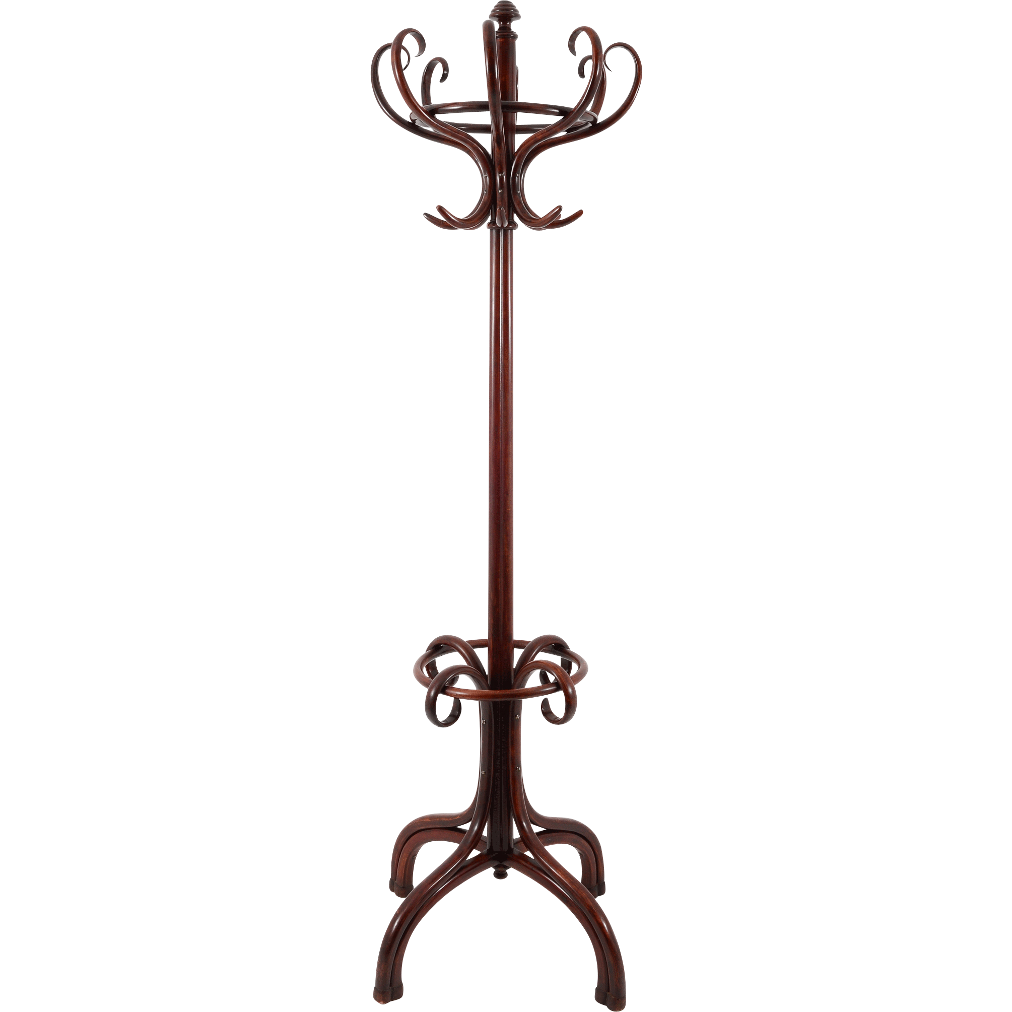 American Mahogany Coat Rack and Umbrella Stand