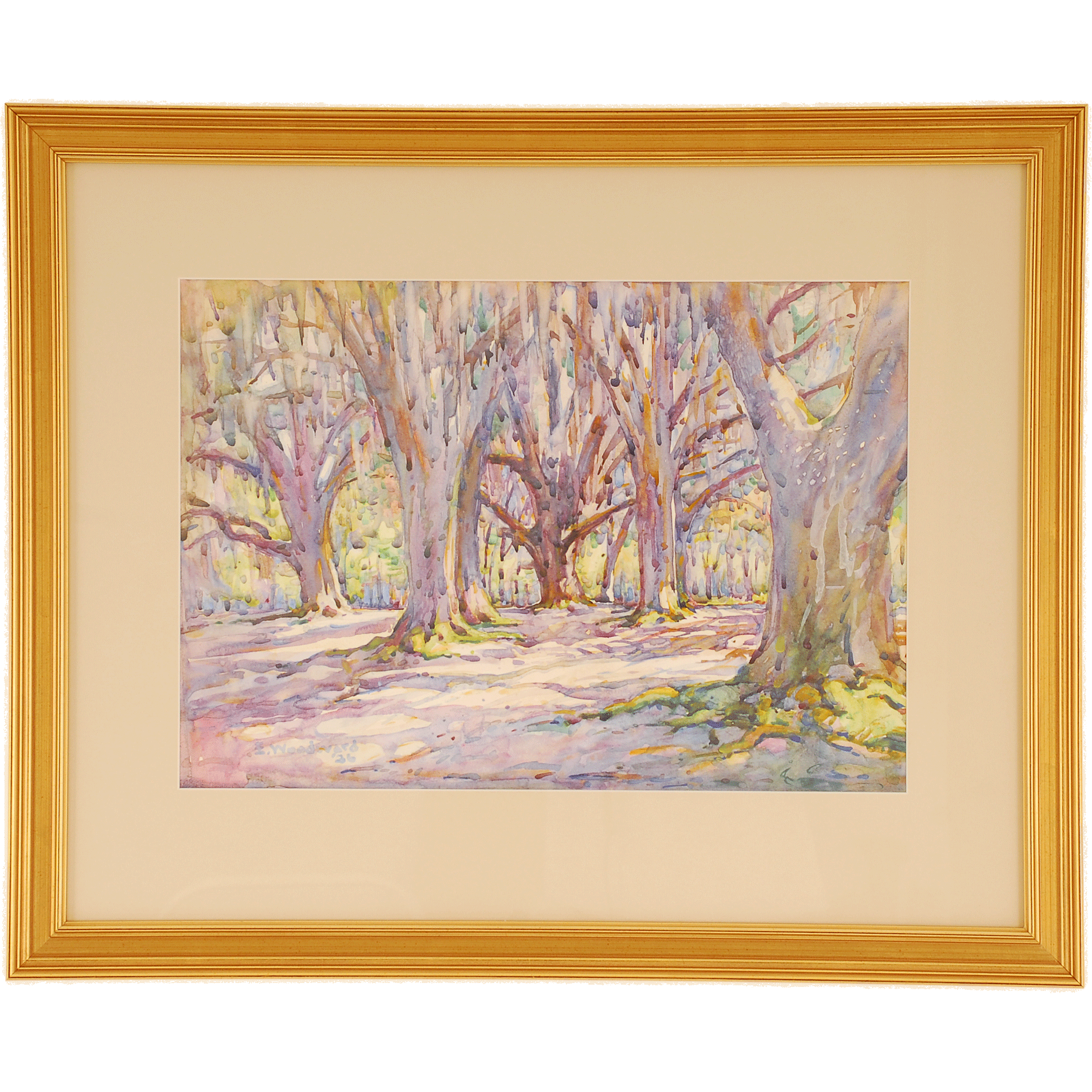 Watercolor of Wooded Landscape by Ellsworth Woodward