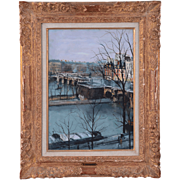 Italian Oil on Board Pont Neuf Over the Siene Rive Gauche by Serge Belloni