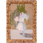 Oil on Board Young Girl With Veil by Richard Schmid