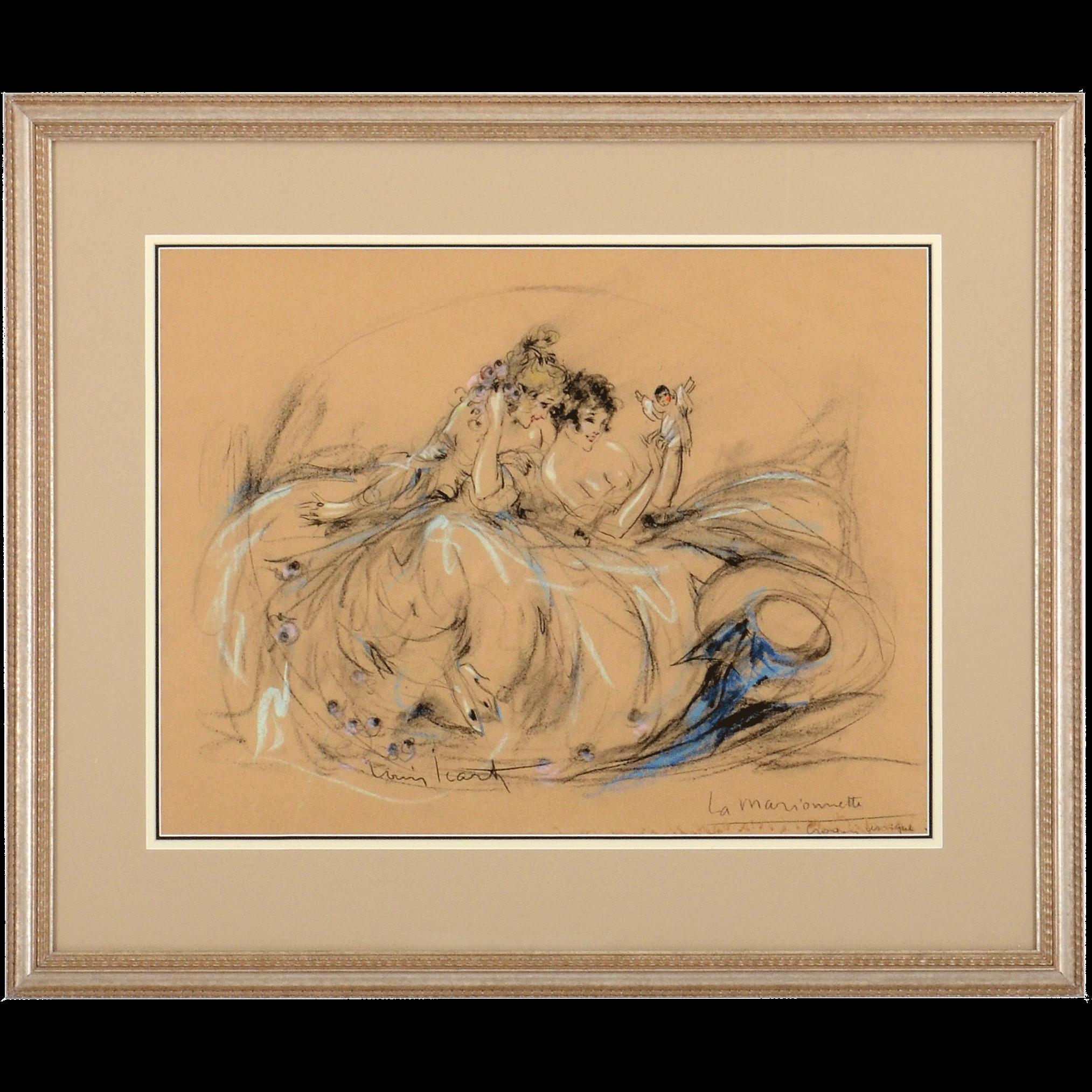 Original Louis Icart Signed Pastel Sketch Le Marionette