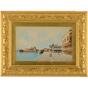 Watercolor A View of the Riva Degil Schiavoni Venice by Andrea Biodetti