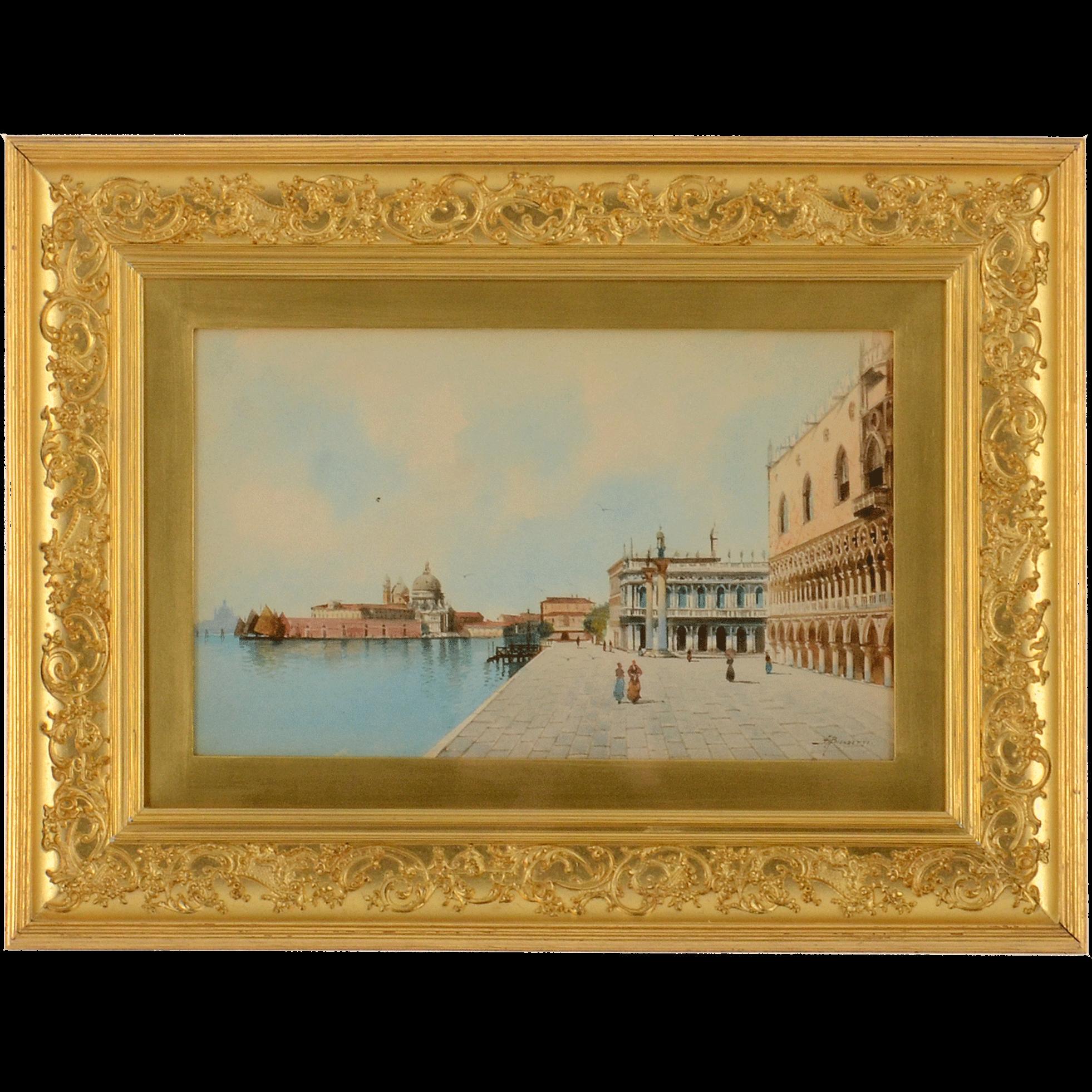 Watercolor A View of the Riva Degil Schiavoni Venice by Andrea Biodetti