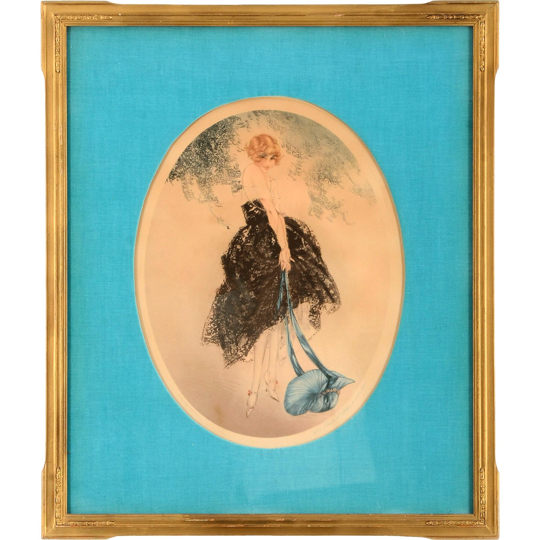 French Copy of Louis Icart Print Le Bonnet Bleu