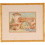 Spanish Village Watercolor by Frances Keffer