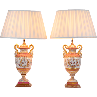 French Pair of Urn Shaped Floral Design Porcelain Lamps