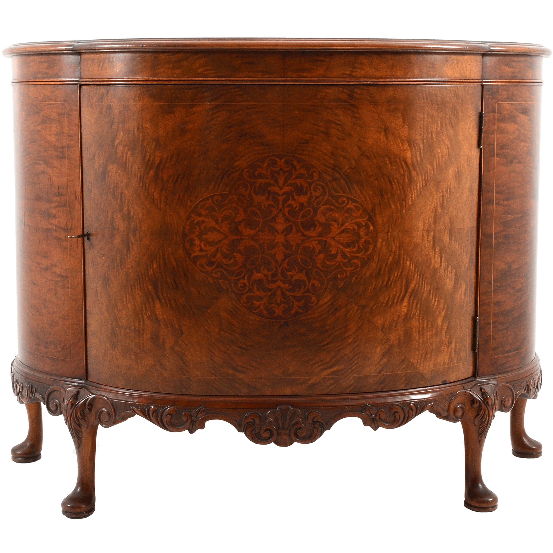 English Walnut Demilune Cabinet