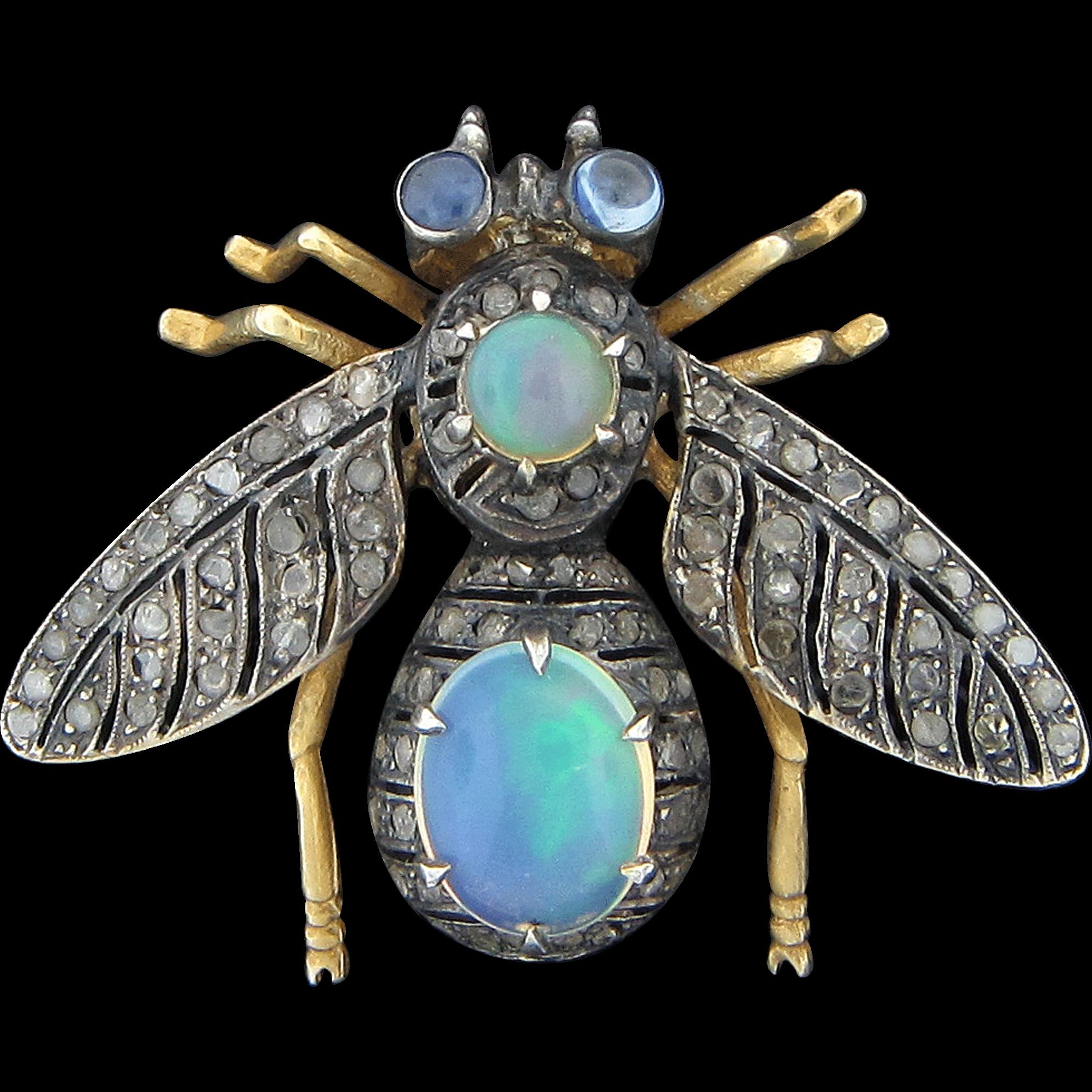 9K Gold Jeweled Bee Pin