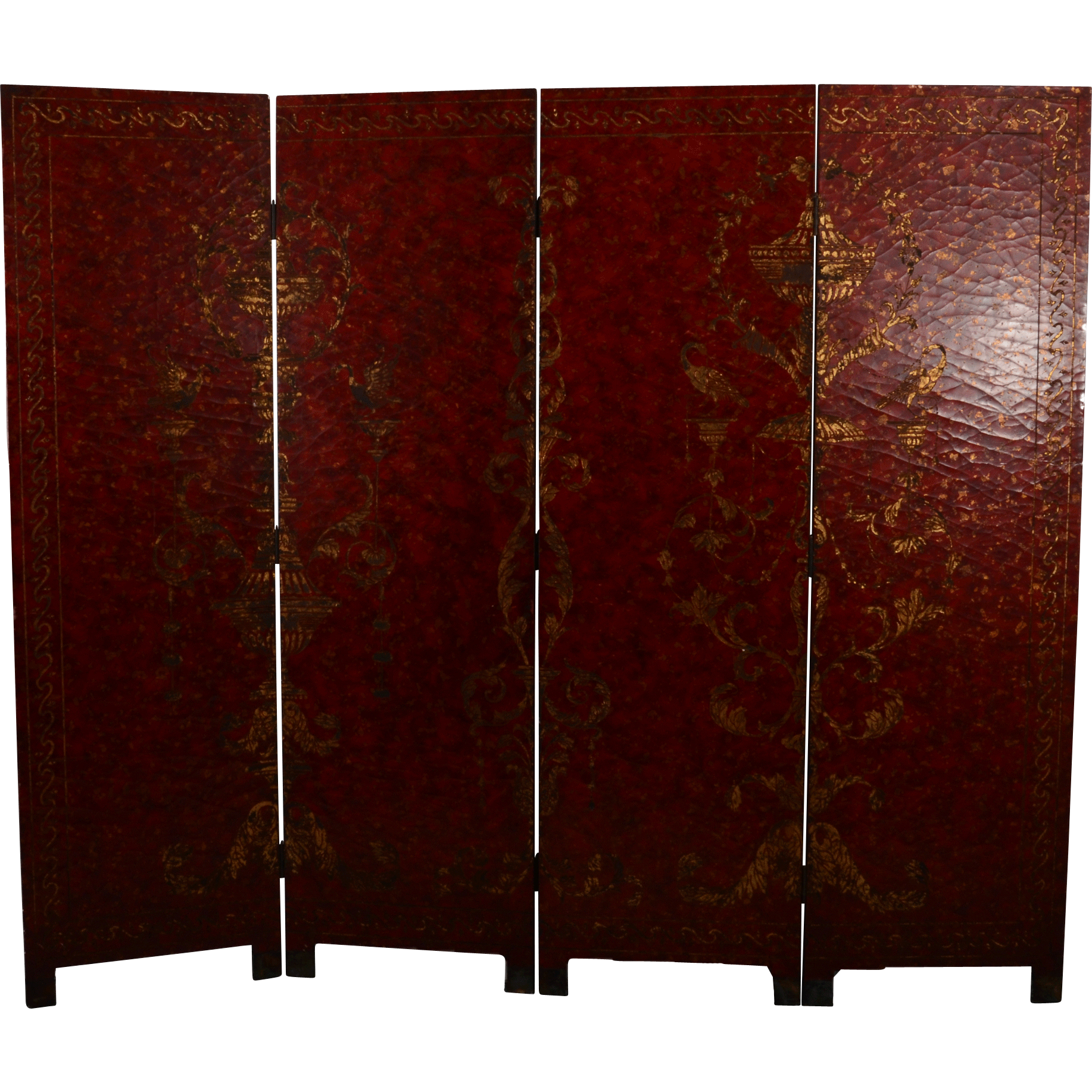 European Renaissance Revival Four Panel Screen