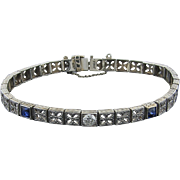 Syn. Sapphire and Diamond Filigree Link Bracelet