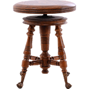 American Carved Oak Piano Stool