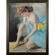 Hungarian Oil on Canvas Ballerina Signed by Artist