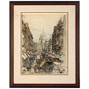 Lithograph Depicting London Street Scene
