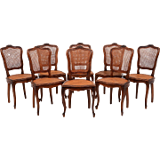 French Set of Eight Carved Walnut and Cane Dining Chairs
