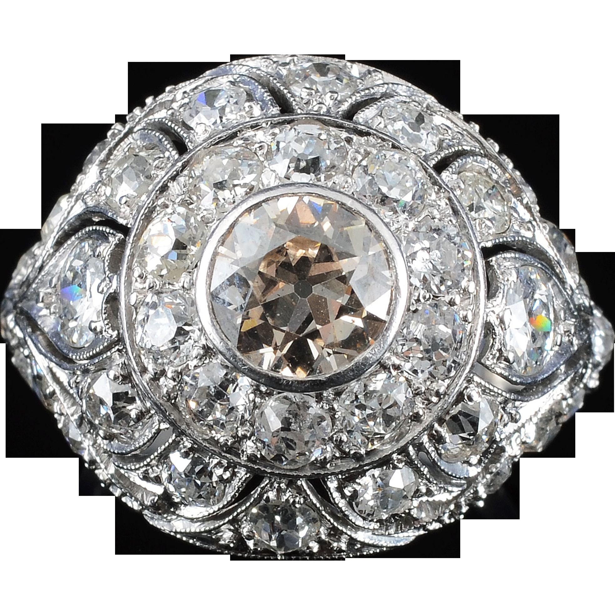 Platinum Art Deco 0.90 Carat Center Diamond Ring